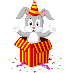 rabbit cartoon coming out of gift box vector image