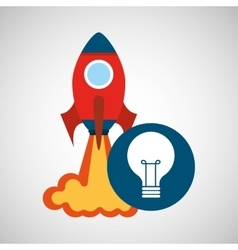 Rocket launch start up business idea bulb graphic vector