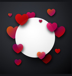 round valentine s card with hearts vector image