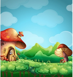 Scene with mushroom house in the field vector