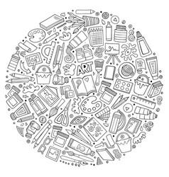 Set art cartoon doodle objects vector