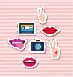 Set elements classic sticker set on pop art linear vector