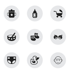 Set of 9 editable kid icons includes symbols such vector