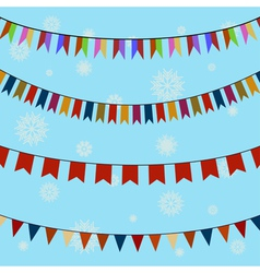 Set of festive colored flags on curved ropes vector image