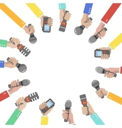 Set of hands holding microphones and voice vector image