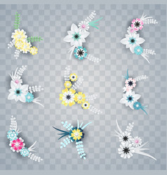 Set of white and colorful paper flowers corners vector