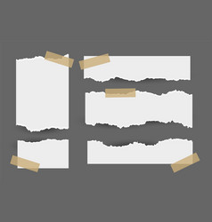 set torn ripped paper sheets with sticker vector image