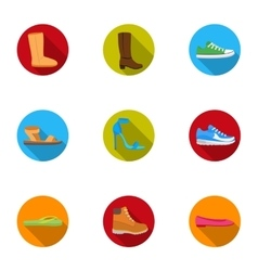 Shoes set icons in flat style Big collection of vector image