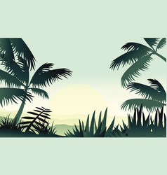 Silhouette of jungle with palm scenery vector