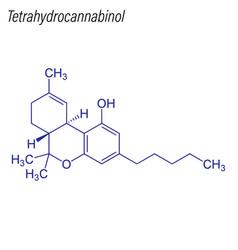skeletal formula tetrahydrocannabinol drug vector image