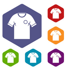 Soccer shirt icons set hexagon vector
