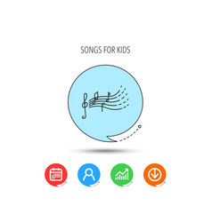 Songs for kids icon musical notes melody sign vector