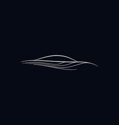 sport car silhouette logo minimalistic lined auto vector image