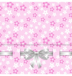 spring card template with bow pink vector image