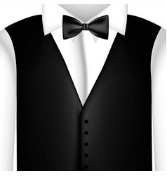 Sticker shirt with bow tie and waistcoat vector