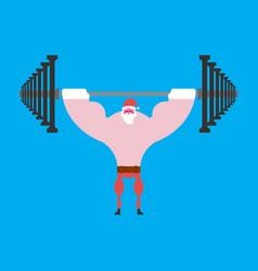 Strong santa claus barbell press overhead vector