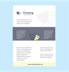 template layout for masks comany profile annual vector image