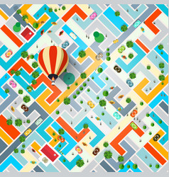 top view city with hot air balloon town vector image