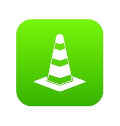 traffic cone icon digital green vector image