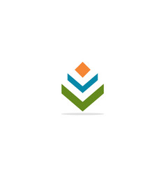 v initial colored logo vector image
