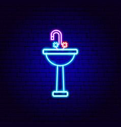 washbasin neon sign vector image
