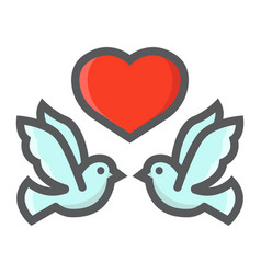 Wedding doves with heart filled outline icon vector