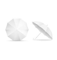 White blank umbrella icon set isolated on vector