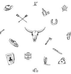 Wild west design sketch pattern vector image