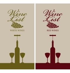 Wine list menu with bottle vector
