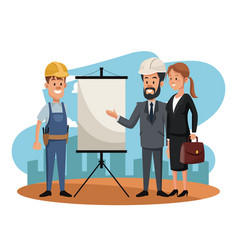 worker with business teamwork vector image