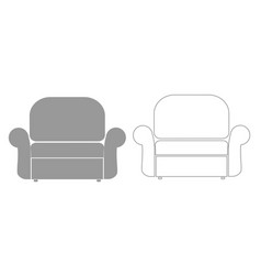 armchair grey set icon vector image vector image