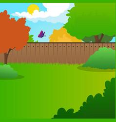 cartoon backyard landscape with green meadow vector image