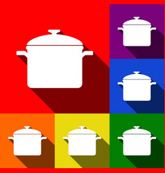cooking pan sign set of icons with flat vector image