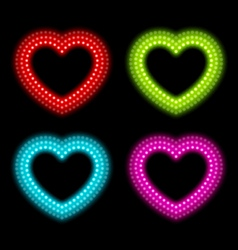 neon heart signs vector image