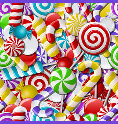 Seamless background with colorful candies vector image