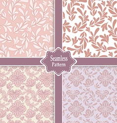 set of four pink floral seamless patterns vector image