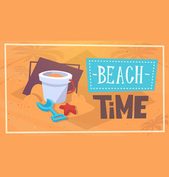 Summer beach time vacation sea travel retro banner vector