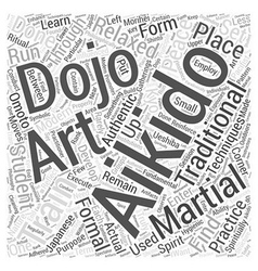 Aikido dojo word cloud concept vector
