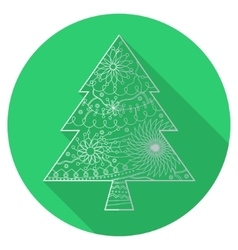 Flat icon of christmas tree vector image vector image