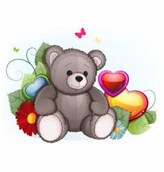 Gray teddy bear with valentines day hearts vector