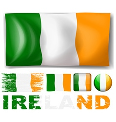 Ireland flag in different designs vector image vector image