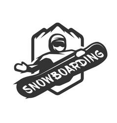 jumping snowboarder monochrome logo vector image