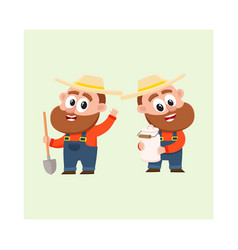 Two funny farmer characters in overalls holding vector