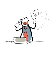 Angry boss business papers vector image vector image