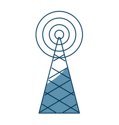 Wireless tower with radio waves communication vector
