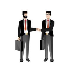European businessmen in business suits handshaking vector