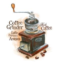 fresh coffee logo design template grinder vector image