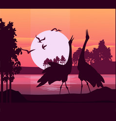 silhouette of birds sunset vector image