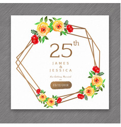 25 watercolor wedding anniversary floral frame vector image