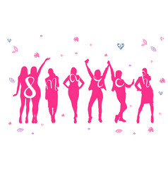 8 march holiday poster with pink cheerful women vector